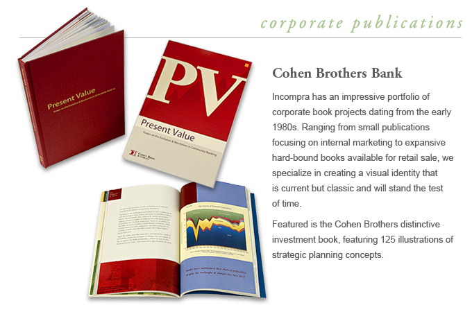 Corporate Books - Cohen Brothers Bank - Incompra has a far-reaching reputation for its accomplishments in the genre of corporate books. From projects for the Glencairn Museum, Irwin & Leightons 100th Anniversary, and Cohen Brothers distinctive investment book, featuring 125 illustrations of strategic planning concepts.